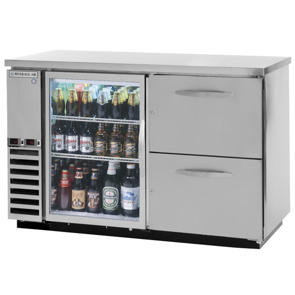 "Beverage-Air DZD58G-1-S-2 58"" Dual-Zone Glass Door Stainless Steel Back Bar Refrigerator with Wine Keg Drawers - 1 Straight Keg Capacity"