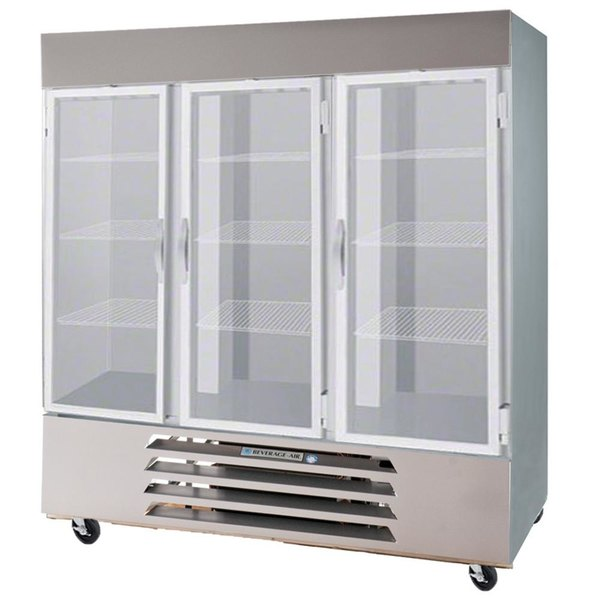 """Beverage-Air HBR72-1-HG-LED 75"""" Three Section Glass Half Door Bottom-Mounted Reach-In Refrigerator with LED Lighting - 72 cu. ft."""