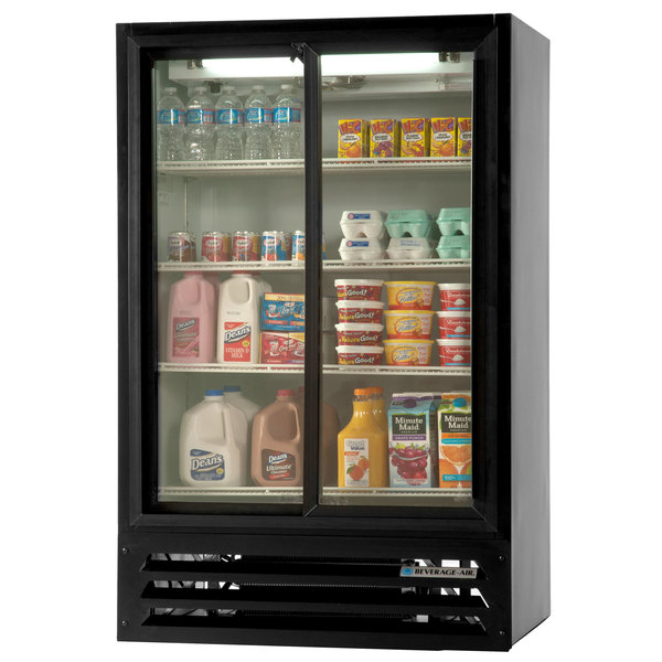 "Beverage-Air LV17-1-B-HD Black LumaVue 36"" Two Hinged Glass Door Refrigerated Merchandiser - 17.5 cu. ft."