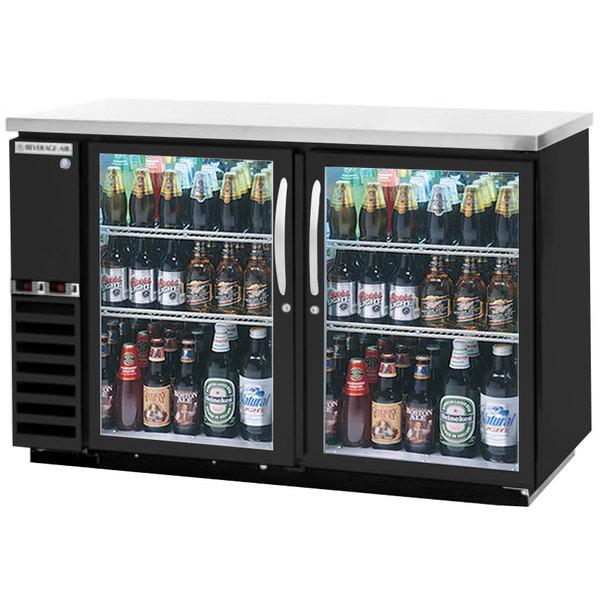 "Beverage-Air DZ58G-1-B-LED 58"" Dual-Zone Glass Door Black Back Bar Refrigerator - 2 Straight Keg Capacity"