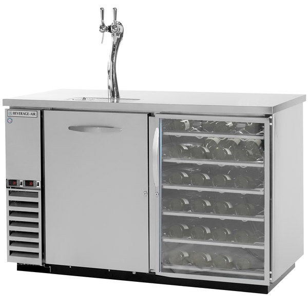 Beverage-Air DZ58G-1-S-PWD-1-LED Double Tap Dual Zone Kegerator Beer Dispenser, 1 Glass Door, Pull-Out Wine Drawers - Stainless Steel, (4) 1/6 Keg Capacity