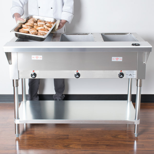 Tabco hf 3e 120 three pan electric steam table with undershelf advance tabco hf 3e 120 three pan electric steam table with undershelf open well 120v keyboard keysfo Image collections