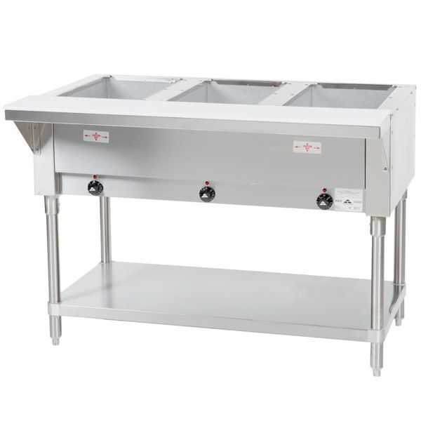 Advance Tabco HFE Three Pan Electric Steam Table With - Three well steam table