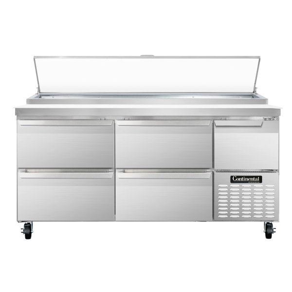 """Continental Refrigerator CPA68-D 68"""" Customizable Pizza Prep Table with 4 Drawers and 1 Half Door"""
