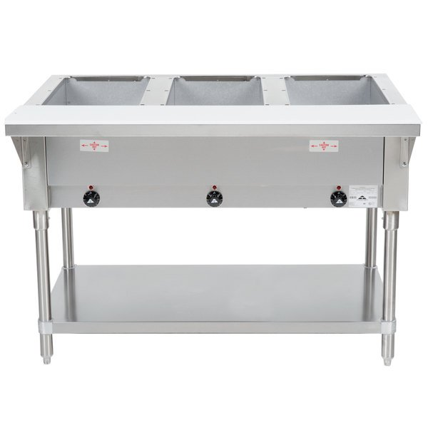 Advance Tabco HF-3E-240 Three Pan Electric Steam Table with Undershelf - Open Well, 208/240V