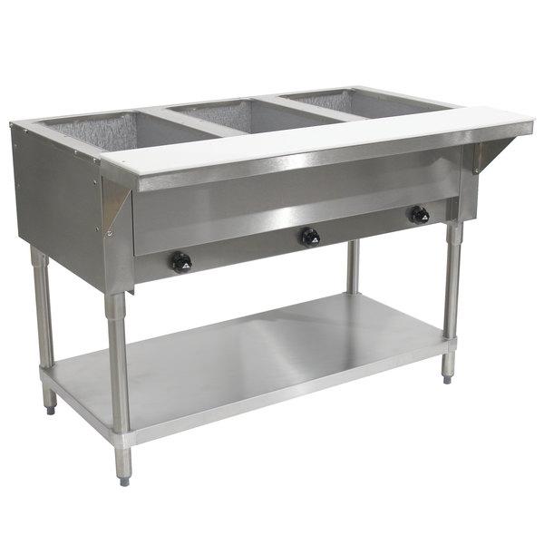 Advance Tabco HF-3G Liquid Propane Three Pan Powered Hot Food Table - Open Well Main Image 1