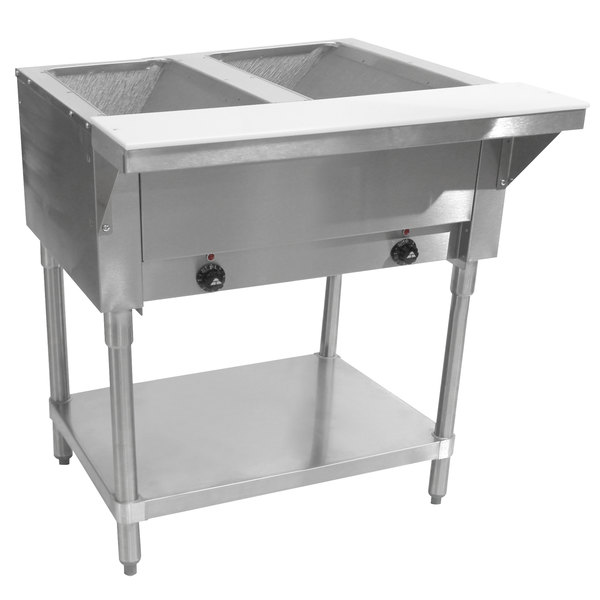 Advance Tabco HF-2E-240 Two Pan Electric Steam Table with Undershelf - Open Well, 208/240V