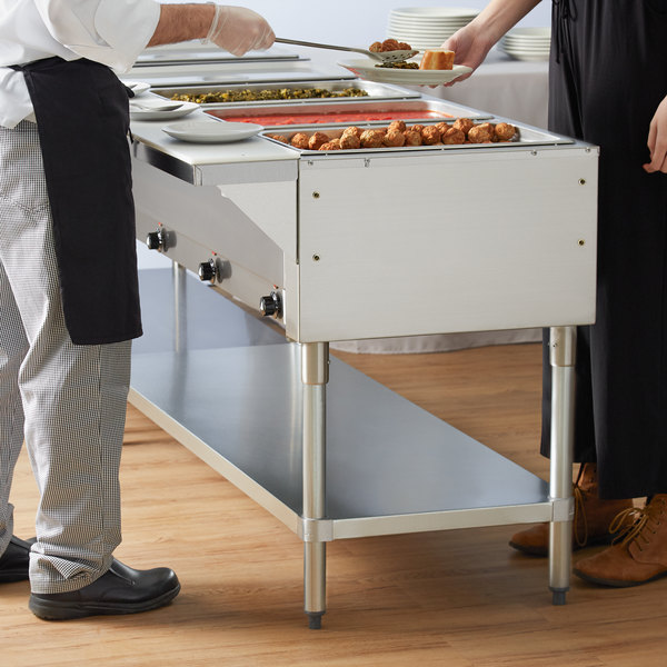 Advance Tabco HF-4E-120 Four Pan Electric Steam Table with Undershelf - Open Well, 120V
