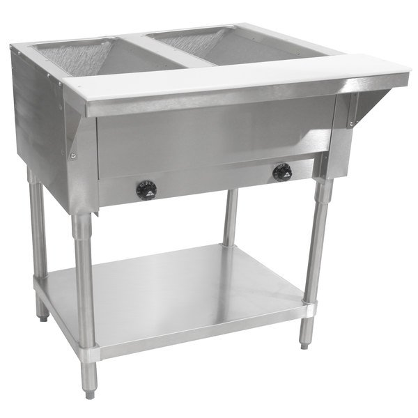 Advance Tabco HF-2G Two Pan Natural Gas Powered Hot Food Table - Open Well