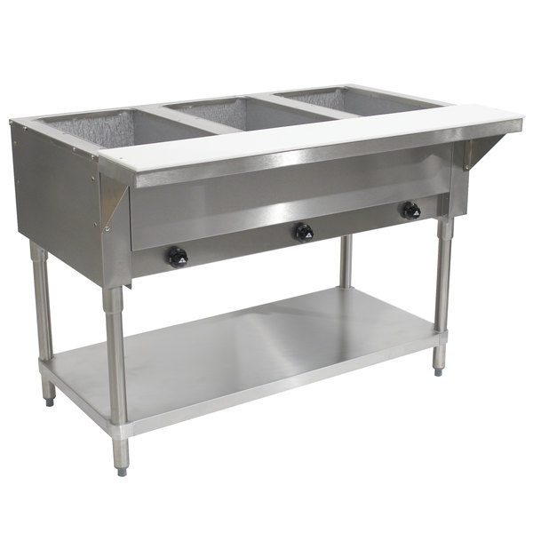 Advance Tabco HF-3G Natural Gas Three Pan Powered Hot Food Table - Open Well