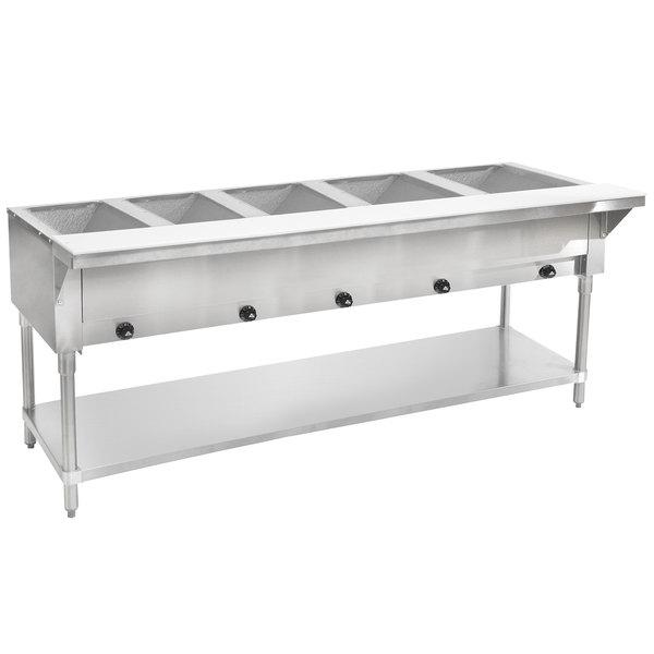 Advance Tabco HF-5G Liquid Propane Five Pan Powered Hot Food Table - Open Well