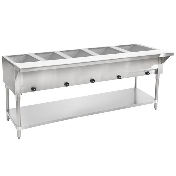 Advance Tabco HF-5G Five Pan Natural Gas Powered Hot Food Table - Open Well