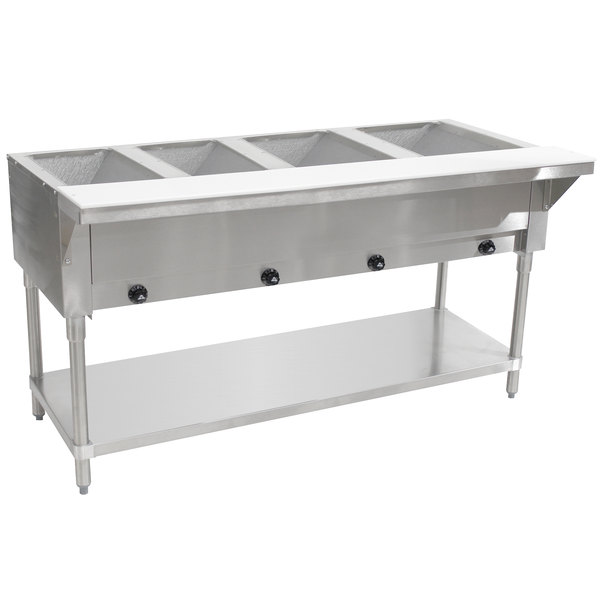 Advance Tabco HF-4G Liquid Propane Four Pan Powered Hot Food Table - Open Well
