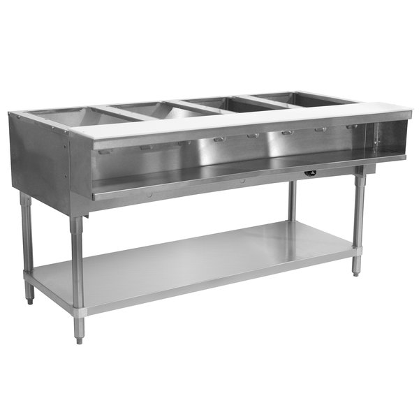 Advance Tabco WB-4G Natural Gas Four Pan Wetbath Powered Hot Food Table with Undershelf - Sealed Well