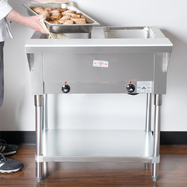 Advance Tabco SW-2E-240 Two Pan Electric Hot Food Table with Undershelf - Sealed Well, 208/240V Main Image 10