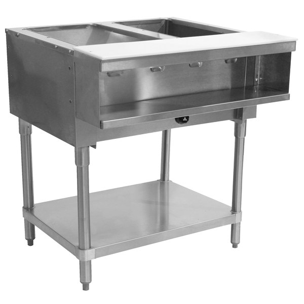Advance Tabco WB-2G Liquid Propane Two Pan Wetbath Powered Hot Food Table with Undershelf - Sealed Well