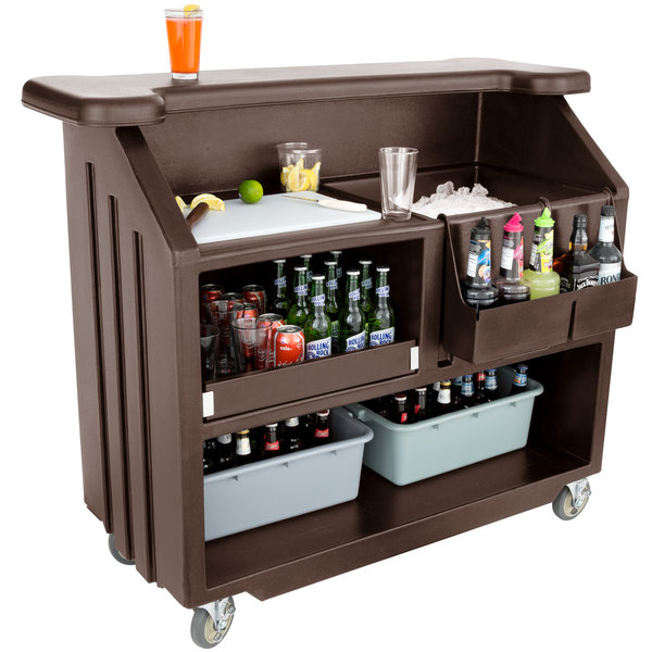 """Cambro BAR540131 Cambar Dark Brown 54"""" Portable Bar with 5-Bottle Speed Rail Scratch and Dent"""