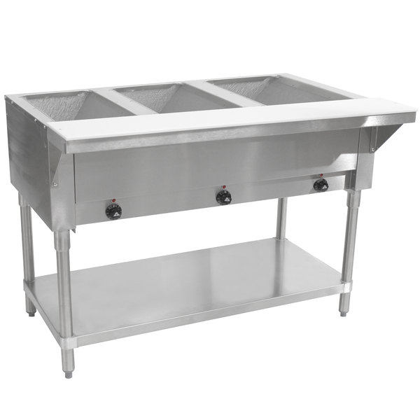 Advance Tabco SW-3E-240 Three Pan Electric Hot Food Table with Undershelf - Sealed Well, 208/240V