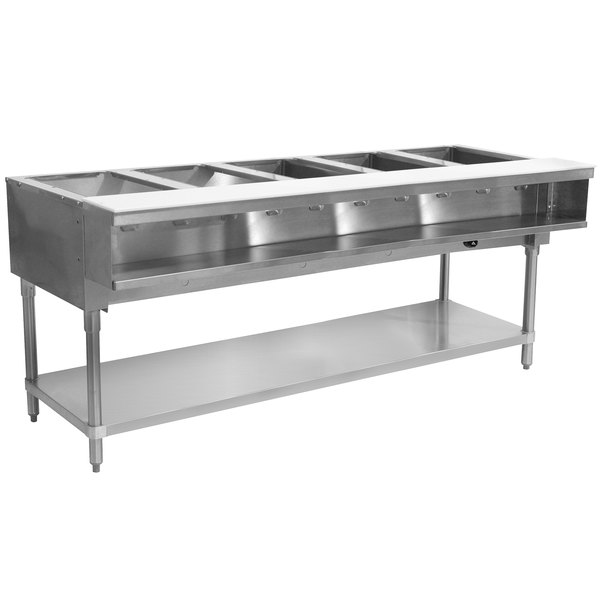 Advance Tabco WB-5G Natural Gas Five Pan Wetbath Powered Hot Food Table with Undershelf - Sealed Well
