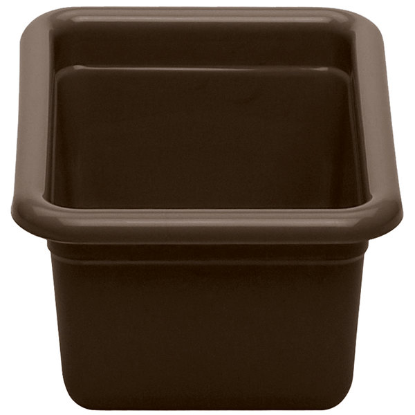 "Cambro 912CBP131 Poly Cambox 12"" x 9"" x 5"" Dark Brown Polyethylene Bus Tub"