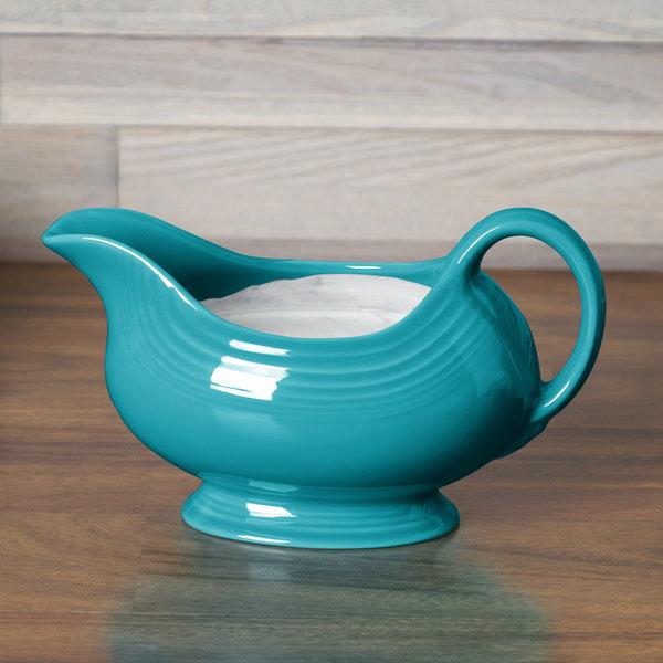 Homer Laughlin 486107 Fiesta Turquoise 18.5 oz. Sauce Boat - 4/Case
