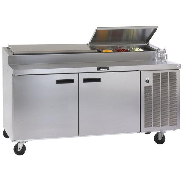 "Delfield 18672PTBM 72"" Two Door Refrigerated Pizza Prep Table"