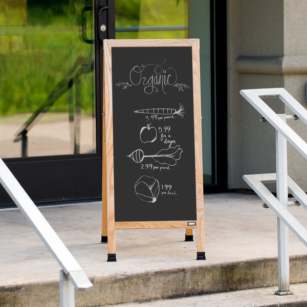 "Aarco A-3B 42"" x 18"" Oak A-Frame Sign Board with Black Write On Chalk Board Main Image 3"