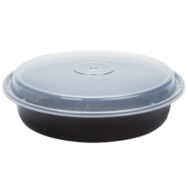 Newspring NC-948-B 48 oz. Black 9 inch x 1 3/4 inch VERSAtainer Round Microwavable Container with Lid - 150/Case