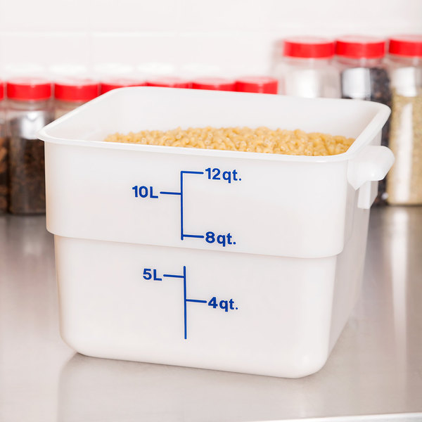 Cambro 12SFSP148 12 Qt. White Poly CamSquare® Food Storage Container
