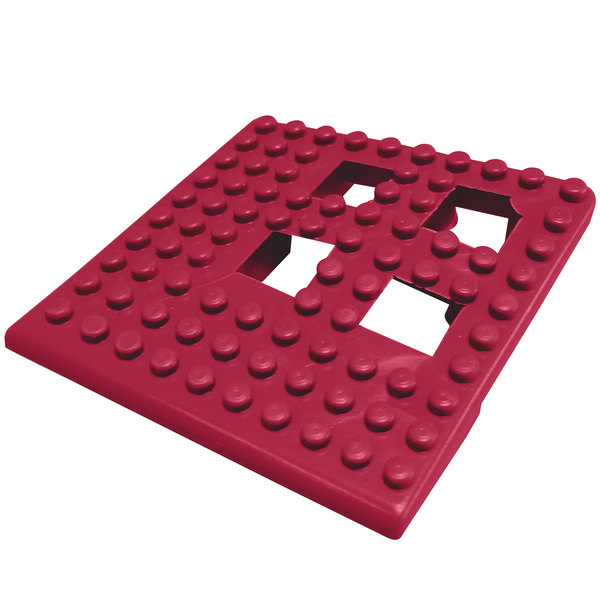 "Cactus Mat Dri-Dek 2554-TC Burgundy 2"" x 2"" Interlocking Vinyl Drain Tile Corner Piece - 9/16"" Thick"