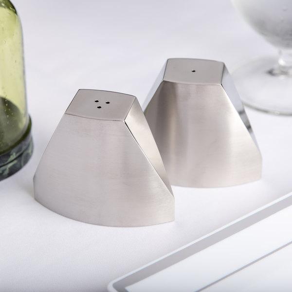 American Metalcraft SPDX22 3.2 oz. Stainless Steel Wedge Salt and Pepper Shaker Set