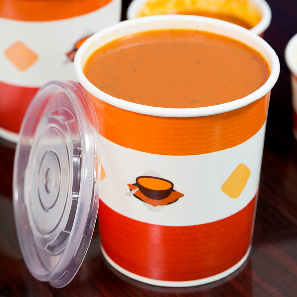 Choice 32 oz. Double Poly-Coated Paper Soup / Hot Food Cup with Vented Plastic Lid - 25/Pack Main Image 4