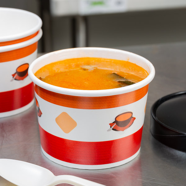 Choice 12 oz. Double Poly-Coated Paper Soup / Hot Food Cup with Vented Paper Lid - 25/Pack Main Image 5