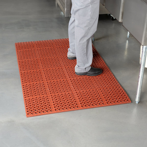 "Cactus Mat 2520-R1S VIP Deluxe 58 1/2"" x 39"" Red Grease-Resistant, Anti-Fatigue, Anti-Slip Floor Mat - 7/8"" Thick Main Image 3"