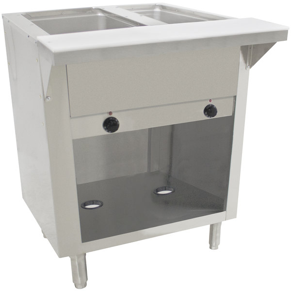 Advance Tabco HF-2E-120-BS Two Pan Electric Hot Food Table with Enclosed Base - Open Well, 120V Main Image 1