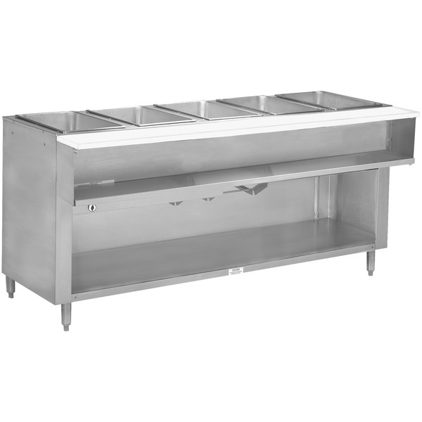 Advance Tabco WB-5G-BS Liquid Propane Five Pan Wetbath Powered Hot Food Table with Enclosed Undershelf - Open Well