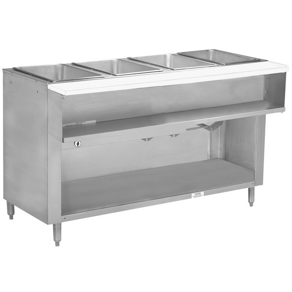 Advance Tabco WB-4G-BS Natural Gas Four Pan Wetbath Powered Hot Food Table with Enclosed Undershelf - Open Well
