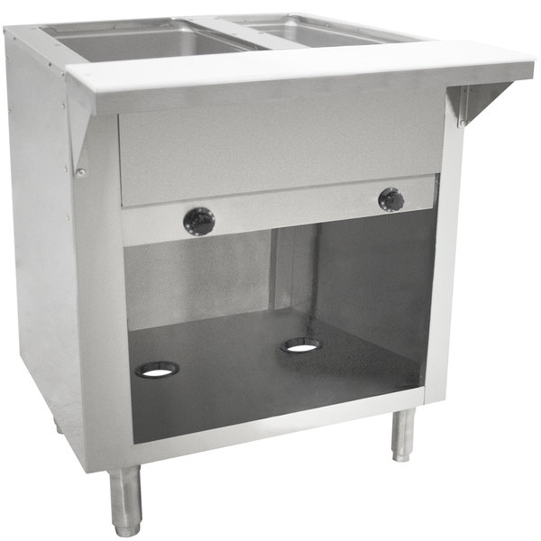 Advance Tabco HF-2G-BS Liquid Propane Two Pan Powered Hot Food Table with Enclosed Base - Open Well Main Image 1