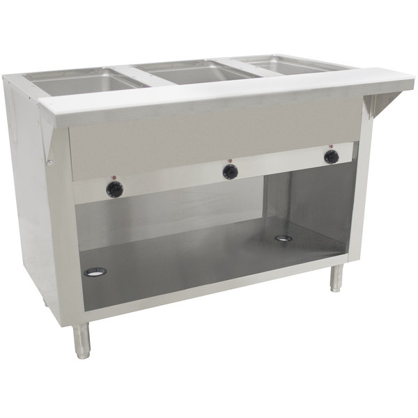 Advance Tabco SW-3E-120-BS Three Pan Electric Hot Food Table with Enclosed Base - Sealed Well, 120V