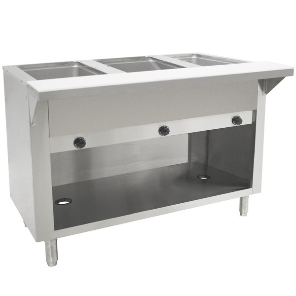 Advance Tabco HF-3G-BS Natural Gas Three Pan Powered Hot Food Table with Enclosed Base - Open Well Main Image 1