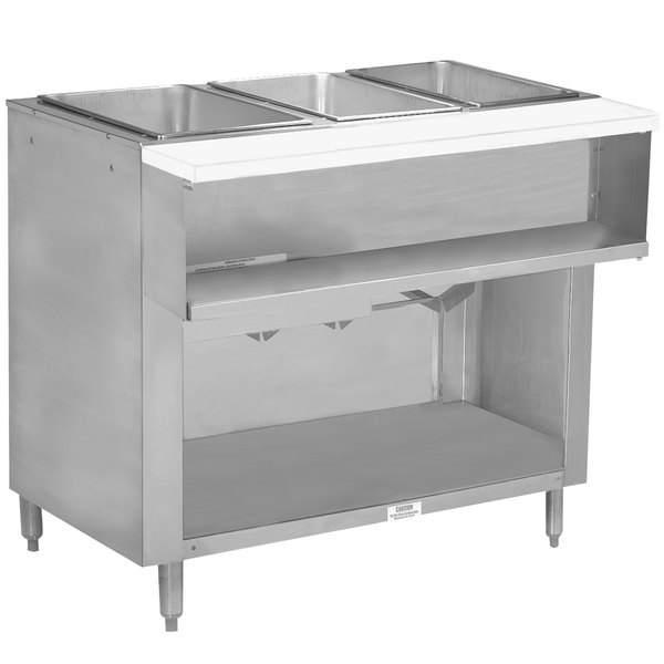 Advance Tabco WB-3G-BS Natural Gas Three Pan Wetbath Powered Hot Food Table with Enclosed Undershelf - Open Well Main Image 1