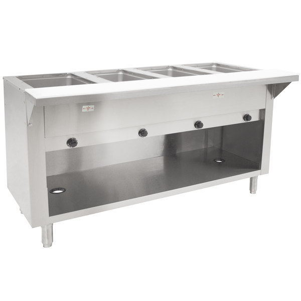 Advance Tabco HF-4G-BS Four Pan Natural Gas Powered Hot Food Table with Enclosed Base - Open Well