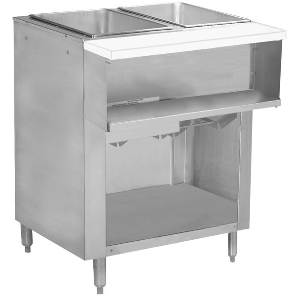 Advance Tabco WB-2G-BS Natural Gas Two Pan Wetbath Powered Hot Food Table with Enclosed Undershelf - Open Well
