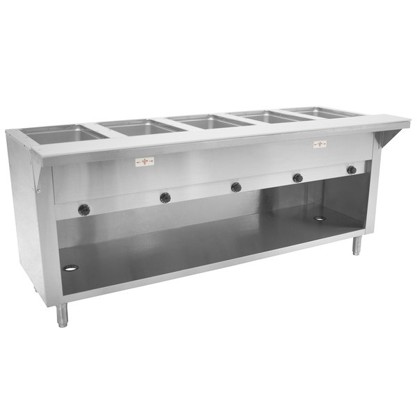 Advance Tabco HF-5G-BS Five Pan Natural Gas Powered Hot Food Table with Enclosed Base - Open Well Main Image 1