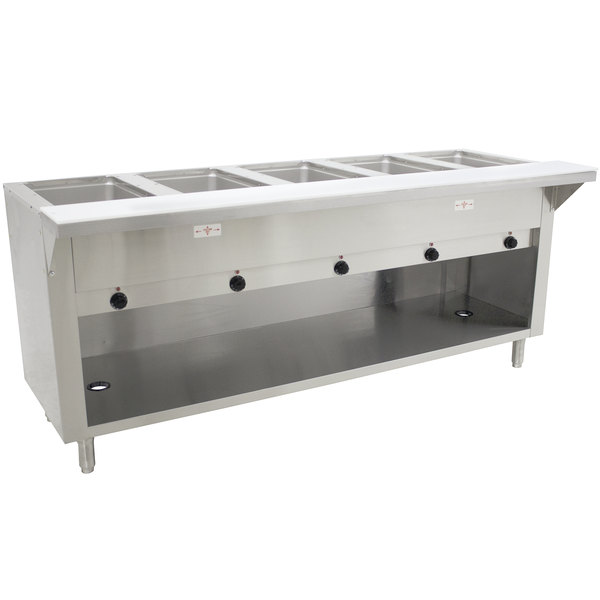 Advance Tabco HF-5E-240-BS Five Pan Electric Hot Food Table with Enclosed Base - Open Well