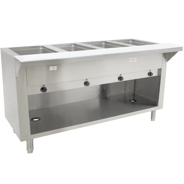 Advance Tabco HF-4E-240-BS Four Pan Electric Hot Food Table with Enclosed Base - Open Well, 208/240V Main Image 1