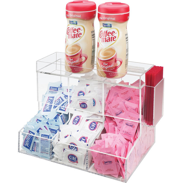 "Cal-Mil 786 Acrylic Top-Loading 3 Bin Coffee Condiment Organizer - 12"" x 8"" x 9 1/4"" Main Image 1"