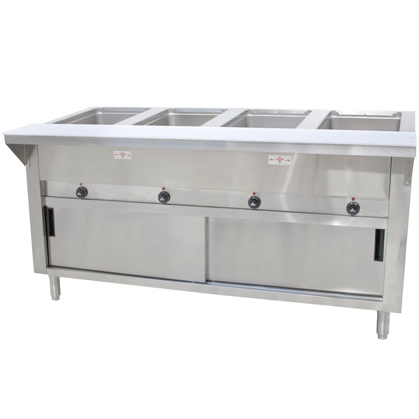 Advance Tabco SW-4E-120-DR Four Pan Electric Hot Food Table with Enclosed Base and Sliding Doors - Sealed Well, 120V Main Image 1