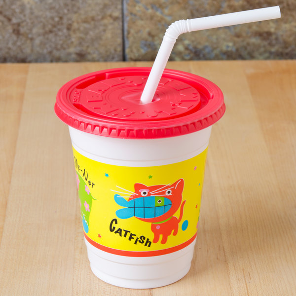 Solo CC12C-J5146 12-14 oz. Critter Print Plastic Kid's Cup with Lid and Straw - 250/Case Main Image 2