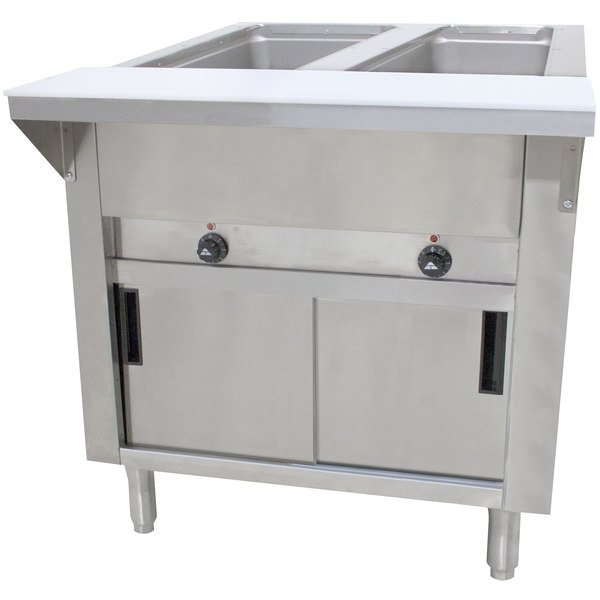 Advance Tabco HF-2E-240-DR Two Pan Electric Hot Food Table with Enclosed Base and Sliding Doors - Open Well, 208/240V Main Image 1